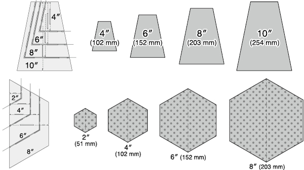 gabarit patchwork gobelets hexagones. Black Bedroom Furniture Sets. Home Design Ideas
