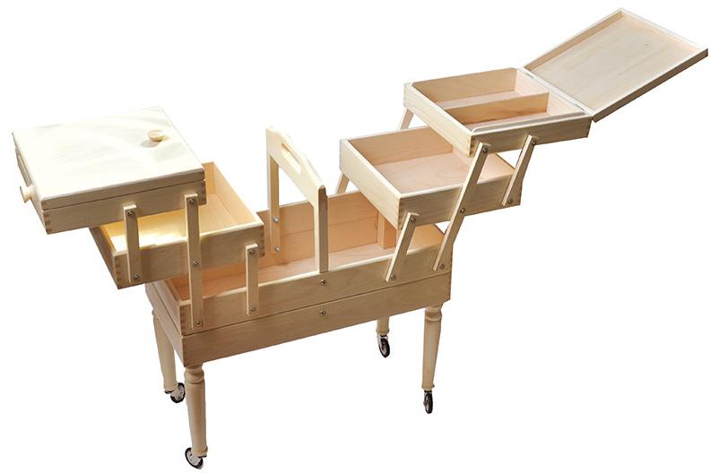 travailleuse couture bois sur pieds blanche rascol. Black Bedroom Furniture Sets. Home Design Ideas