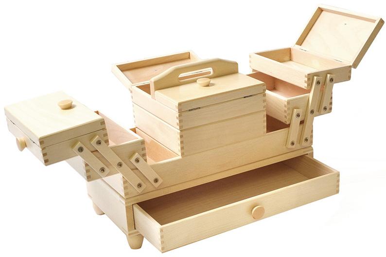 Travailleuse bois couture avec tiroir blanche rascol for Travailleuse couture moderne