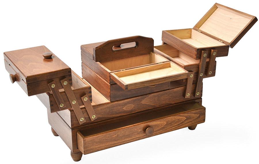 Travailleuse tiroir marron for Travailleuse couture bois